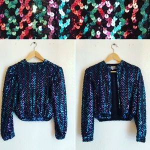 Vintage Sequins Sweater Jacket
